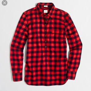 J. Crew PerfectFit Plaid Popover Flannel Shirt